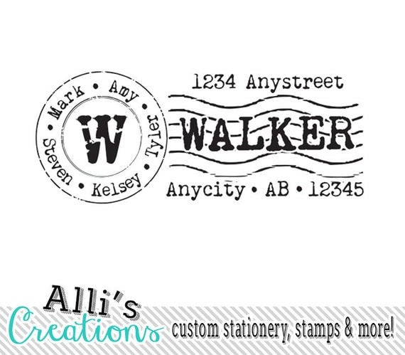 Cancelled Postage Return Address Stamp Cute By Alliscreations