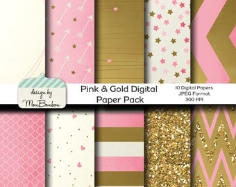 Pink & Gold Digital Paper Backgrounds Pack - 12x12  -Pink, Cream, Gold, Metallic- INSTANT DOWNLOAD