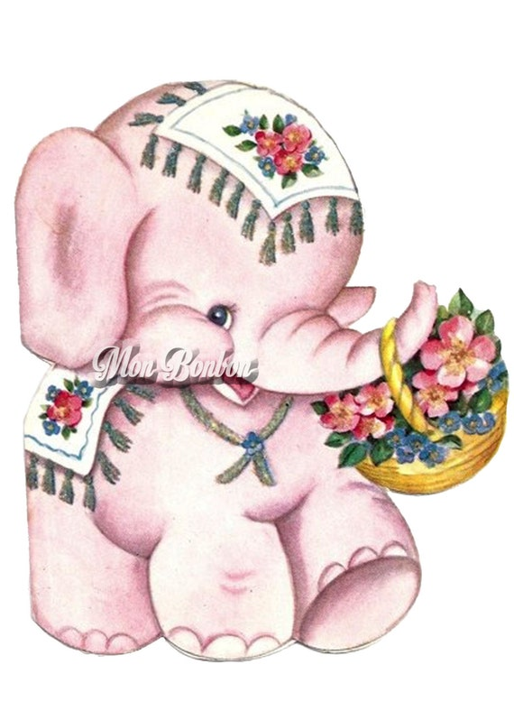 Cute Retro Pink Elephant Digital Clip Art Illustration PnG And JPG