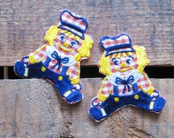 Vintage Raggedy Ann Doll Patches / Appliques - 60s - Set of 2