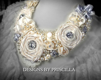 Ultimate Bridal Statement Necklace Flower Jewelry Designs Flower Necklace Ivory Flower Bib Pearl Crystal Bib Handmade Jewelry Bride Necklace