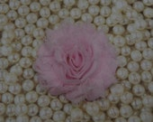 Chiffon Flower Hair Clip Pale Pink Frayed Shabby Chic Rosette Fabric Flower Clippie Pink Baby Headband