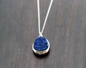 Blue Druzy Bezel Necklace Sterling Silver, Bezel Wrapped Teardrop Druzy Quartz , 14k Gold Fill , Rose , Cobalt Pendant