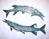 Ultimate PISCES Original Cottage Art... Large GYOTAKU Fish Rubbing Art by Barry Singer