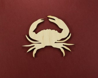 Crab Shape Unfinished Wood Laser Cut Shapes Crafts Variety of Sizes