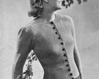 Vintage Ladies Cardigan, Knitting Pattern, 1940/1950 (PDF) Pattern, P&B 3689