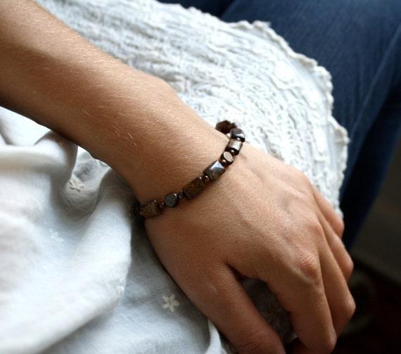 Bronzite Bracelet . Rustic Bracelet . Simple Bead Bracelet . Natural Stone Bracelet . Brown Beaded Gemstone Bracelet - Balana Collection