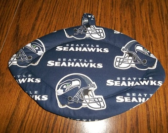 Seattle Seahawks, Quilted Pot Holders, Potholders, Hot Pads, Trivet, Football Shaped, Double Insulated, Cotton Fabric, Hostess Gift