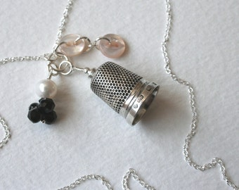 Silver Thimble Charm Necklace Crystal and Vintage Buttons