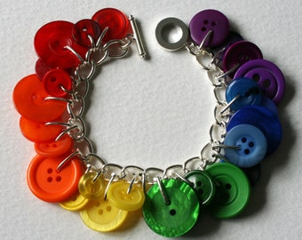 Button Charm Bracelet Rainbow Multicolors