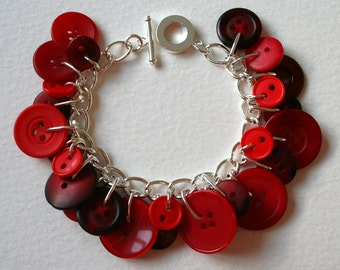 Button Bracelet Bright Rose Red