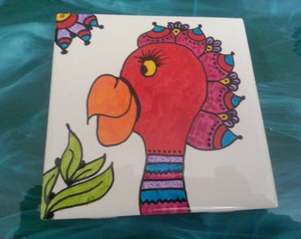 Mosaic Tiles One of a kind SILLY PARROT BIRD #2 Ceramic Mosaic Tile