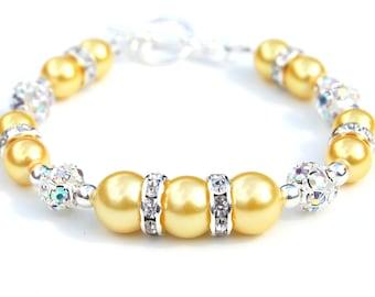 Marigold Yellow Bracelet, Summer Wedding Jewelry, Bridesmaid Bracelet, Bridesmaid Jewelry,  Pastel Wedding Jewellery, Yellow Wedding