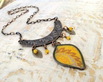 yellow Bohemian necklace unique statement necklace copper ethnic jewelry