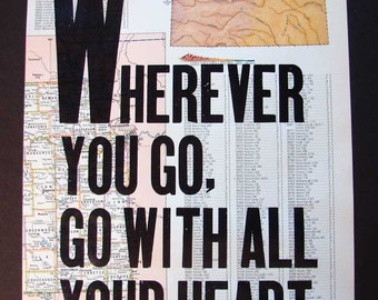 Wood Type Letterpress Print on Vintage Map / Atlas - Kansas Heart