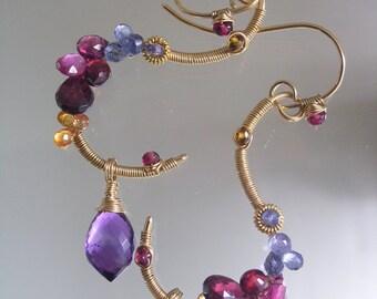 Amethyst Gold Filled Sculptural Earrings, Tanzanite Curl Dangles, Twilight, Pink Sapphire, Tourmaline, Signature Original, Made to Order