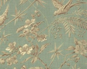 LA BELLE FLEUR Floral Birds Oiseaux Et Arbres Aqua Verde Stone Grey by French General for Moda Fabric - Yardage