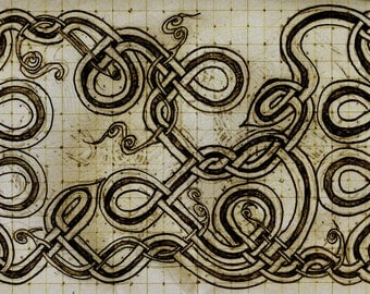 Celtic Knot Work Schematic Drawing Print