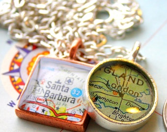 Round Mini Map Pendant Custom Order Option:  You Name Your City or Hometown, In Silver Pewter, Gold or Copper