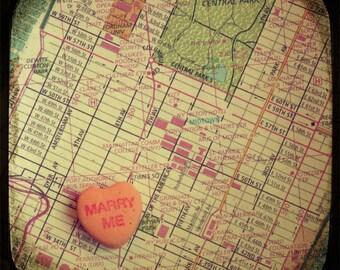 Map art print - marry me Bryant Park New York City Manhattan - candy heart custom engagement wedding anniversary gift wall decor