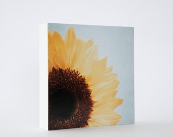 Sunflower photo block - yellow sunflower, floral wall decor, flower,pale blue, shabby chic decor, nature photography, flower photograph