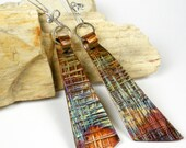 RESERVED For Susan, Hammered Copper Dangle Earrings, Rustic Colorful Heat Patina, Forged Silver and Copper Earrings, Angular Shape- Fandango