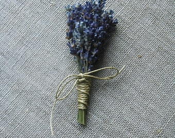 10 Fat Lavender Boutonnieres or Corsages with Custom Hemp Twine or Ribbon Wrap