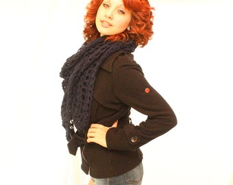 SALE My Love chunky lace cowl scarf open end Vegan Boho Midnight Navy Blue
