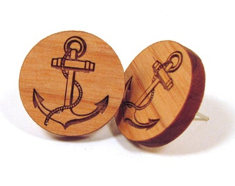 Anchor Wooden Post Earring Studs