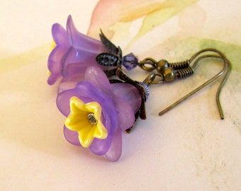 Purple Earrings,  Lavender Flowers,  Victorian Jewelry