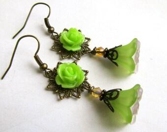 Light Green Chandelier Earrings, Victorian Flower Jewelry