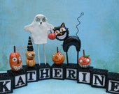 Customize your name Halloween-clay folk art
