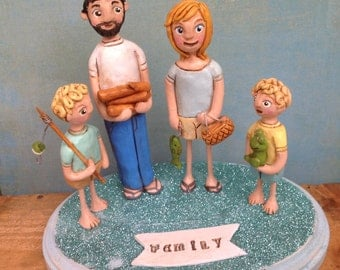 Customize your Family of Four on Base Folk Art Sculpture Family Portrait based on your photos