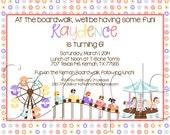 Printable Girls Amusement Park Birthday Party Invitation