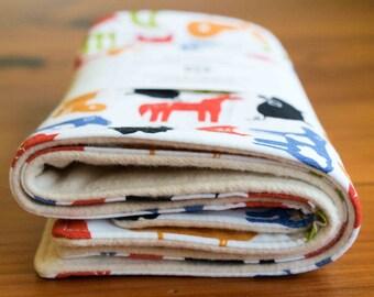 Organic Burp Cloths, Set of Two in FARMYARD; Multi-color Farm Animals Baby Burp Cloths Gift Set by Organic Quilt Company