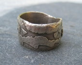CLEARANCE 1/2 PRICE - Unearthed - Cigar Band Style Fine Silver Ring statement ring silver ring rustic organic wide band ring oxidized