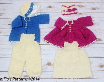 CROCHET PATTERN For Winter Matinee Jacket,  Baby Dress, 2 Jackets, Dungarees, 2 Hats PDF 35 Digital Download