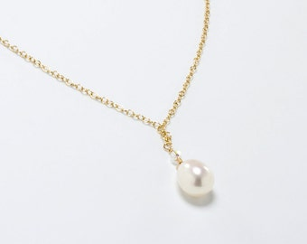 Pearl Teardrop Necklace, Bridal, Bridesmaid Necklace, Pearl Teardrop Pendant, Pearl Wedding, Bridesmaid Jewelry, Gold Filled