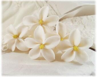White Jasmine Hair Pins - Jasmine Hair Accessories, Jasmine Wedding Hair Pins