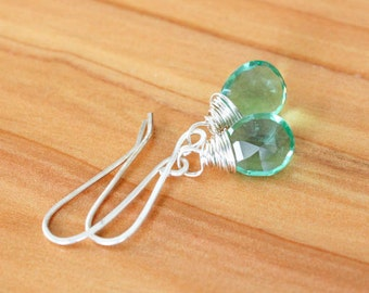 Sterling Silver Earrings with Wire Wrapped Green Quartz Gemstones - Alchemist // F149