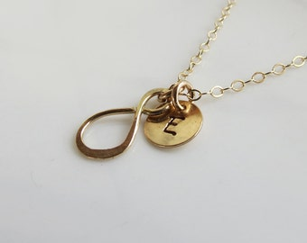 Gold Infinity Necklace, Tiny Infinity Charm,Zen Necklace, Friendship Gift Necklace,Bridesmaid Necklace, Wedding Gift, Bridal Accesories