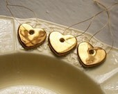 Three Little Gold Heart Decorations, Wedding Favor, Hand Painted Real Gold Lustre, Metallic Thread