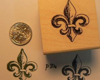 Fleur de lis rubber stamp Wood Mounted P34