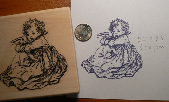 P15 Little girl loves bunny victorian style rubber stamp
