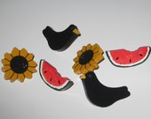 Sunflower Watermelon and Crow Push Pins
