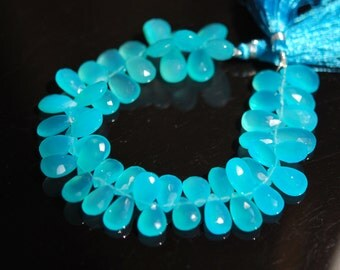 Spectacular Aqua Chalcedony pears 22 pieces for 25.00