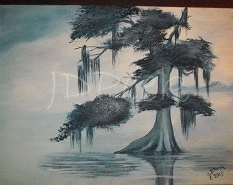 Cypress Tree painting 12x16 inches