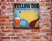 Yellow DOG labrador brewing beer company black labrador graphic artwork on gallery wrapped canvas