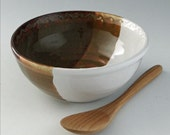 Cereal / Ice Cream Bowl in Autumn Spice and White with Wave Textured Rim