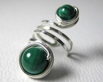 Malachite Ear Cuff Sterling Silver Wire Wrapped Malachite Jewelry Pierce-less -- Shepherd Moon